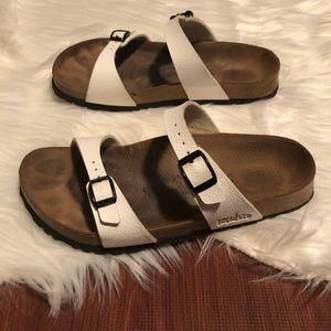 Birkenstock Shoes - Birkenstock White Two Strap Slide on Sandal